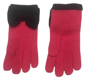 Kate Spade Kate Spade Pink Knit Gloves with Black Bow