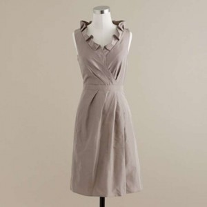 J.Crew Aged Driftwood Silk Taffeta Feminine Bridesmaid/Mob Dress Size 4 (S)