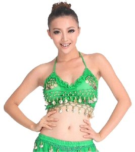 Other Costume Arabian Geni Arabian Nights Jasmine Belly Belly Sexy Belly Dance Dance Sexywoman Lady Halloween Show Drum Coin Green Halter Top