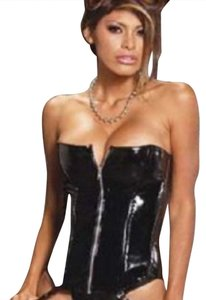 Elegant Moments Costume Halloween Harley Club Wear Club Lingerie Bustier Zip Leather Patent Leather Biker Motorcycle Cat Woman Fetish Top Black