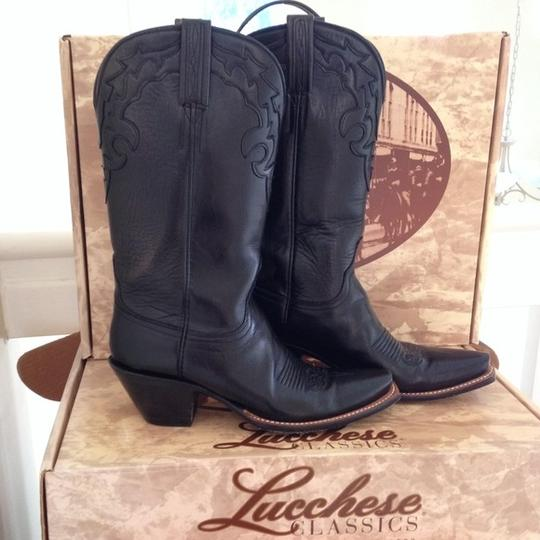 Lucchese Ariat Justins Gringo Texas Cowgirl Cowboy Point Toe Toe Heel Costume Halloween Yee Haw Daisy Dukes Country Western Ride Black Boots