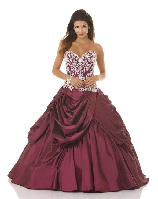 Item - Cranberry/Platinum Bloom Quinceanera Prom Gown 5318 Long Formal Dress Size 10 (M)