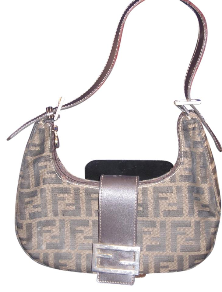 41b9d72671 Fendi Zucca Brown Canvas with Leather Trim Baguette - Tradesy