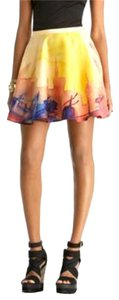 Rachel Roy Nyc Skyline Watercolor Mini Skirt