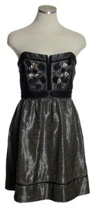 Urban Outfitters short dress Black Brown Metallic Strapless on Tradesy