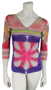 Etro Printed Mod Stretch Allover T Shirt Pink