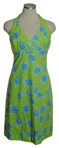 Lilly Pulitzer short dress Yellow Green Print Halter on Tradesy