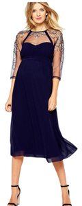 Little Mistress Little Mistress Maternity Midi Dress With Sheer Sleeves And Embroidery Size US 12 NWT