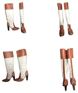 Michael Kors Reserved Leather And Calf Hair Knee High Cognac Boots