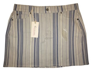Vince Camuto Denim Mini Jean Mini Skirt BLUE INDIGO STRIPE