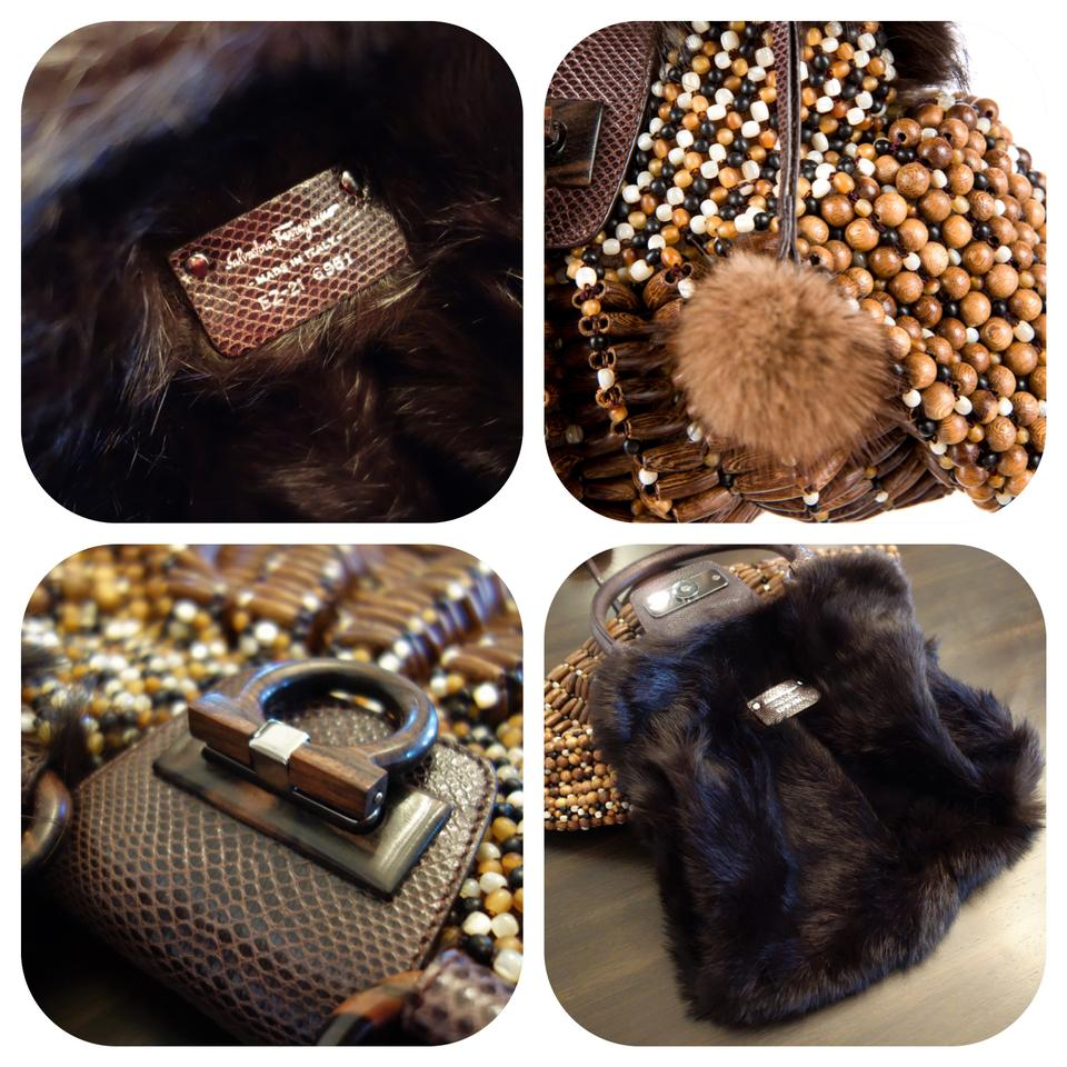 c8ef5f5980 Salvatore Ferragamo Rare Large Wood Beaded   Mink Fur Hobo Bag - Tradesy