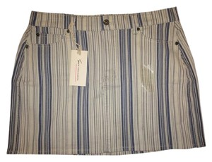 Vince Camuto Denim Jean Mini Skirt BLUE INDIGO STRIPE