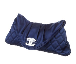 Chanel Quilted Half Moon Interlocking Cc Logo Satin Blue Clutch