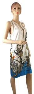 Roberto Cavalli White Silk Short V Neck Line Blue Sleeveless Dress