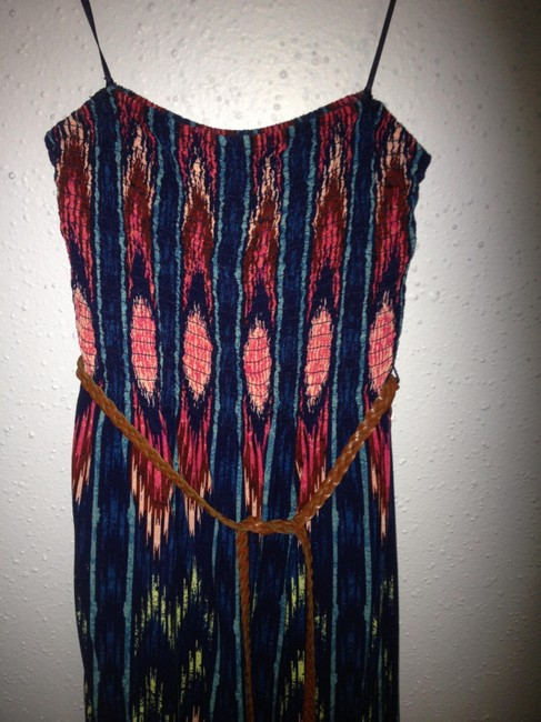 Blue/pink/multi Maxi Dress by Mudd Tribal Multi Color Maxi Maxi Blue Pink Tan Leather