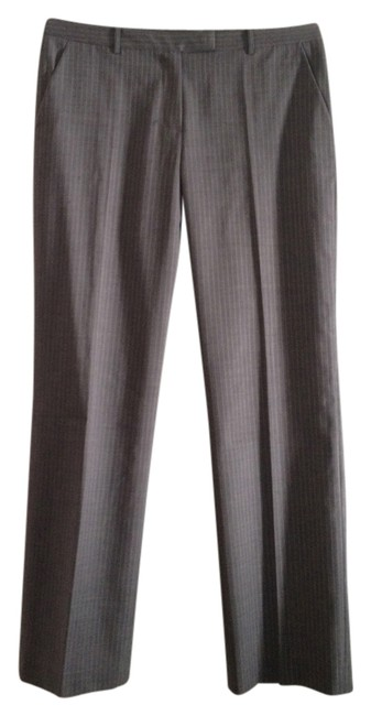 Item - Grey with Pink Pin Stripe Wool Straight Leg Pants Size 12 (L, 32, 33)