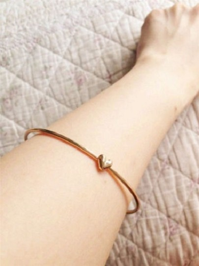 Other 2pc Fashion Women's Gold Heart Charm Chain Bangle Bracelet Cuff Elegant Jewelry Gift Image 1