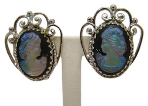 WHITING & DAVIS CO VINTAGE WHITING & DAVIS CO IRIDESCENT GLASS CAMEO EARRINGS FILIGREE SILVERTONE