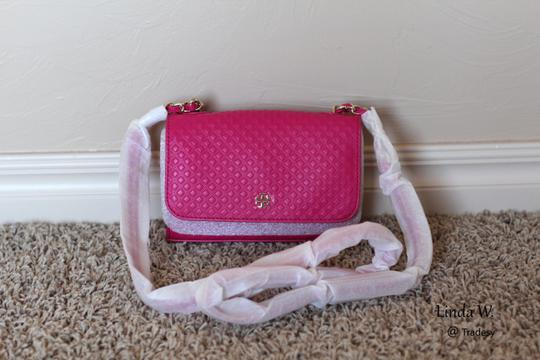 Tory Burch Leather Gold Hardware Chain Strap Quilted Leather Shoulder Cross Body Bag Image 1