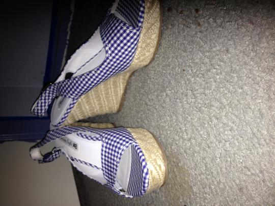 American Eagle Outfitters Gingham Date Heels Blue/white Wedges