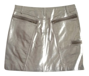 New Identity Leather Mini Skirt Silver