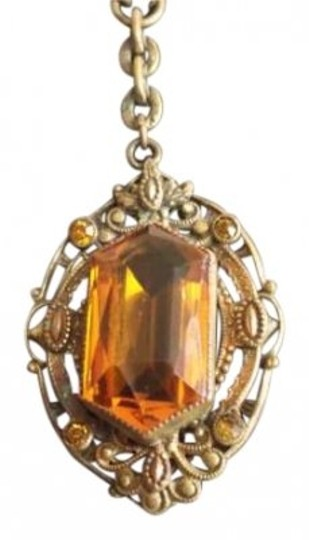 Vintage Vintage Gold Necklace w/ Amber Glass Stone