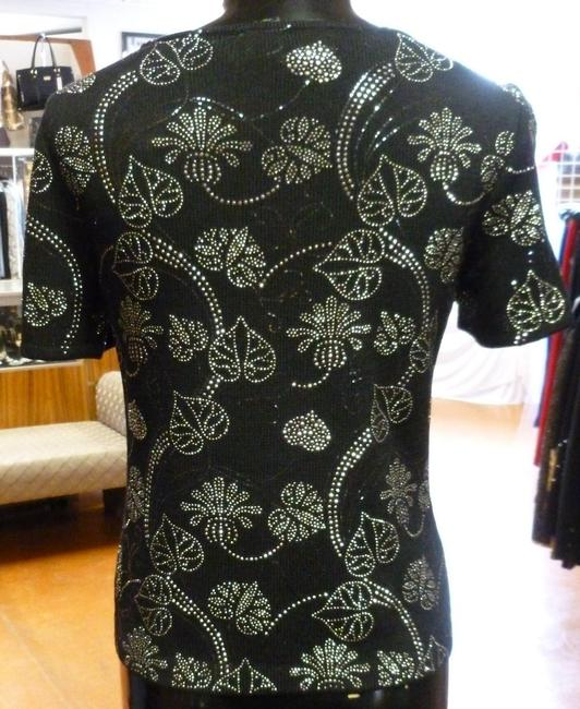 St. John Evening Sequins Pailletes Knit New Crystals Embellished Shirt Small Top Black, Silver