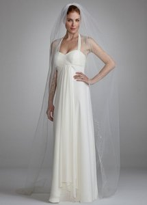 David's Bridal Single Tier Chapel Length Veil With Embroidery