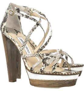 Jimmy Choo Crisscross Strap Gold Studs Leather Sole Python Heel Python print Sandals