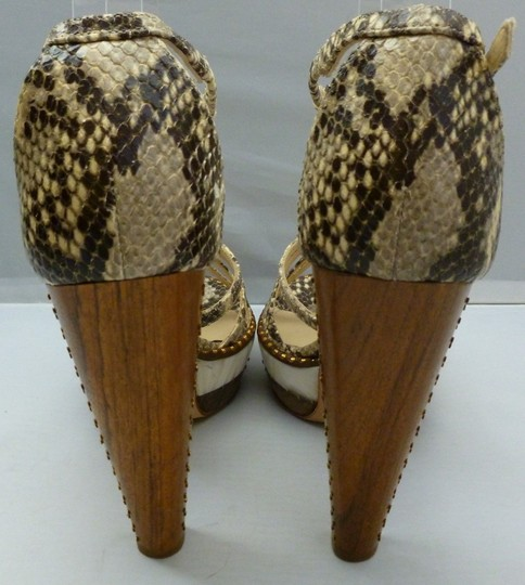 Jimmy Choo Crisscross Strap Gold Studs Leather Sole Heel Python print Sandals
