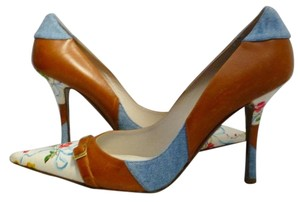 Dior Christian Floral Print Camel, Multi-Color Pumps