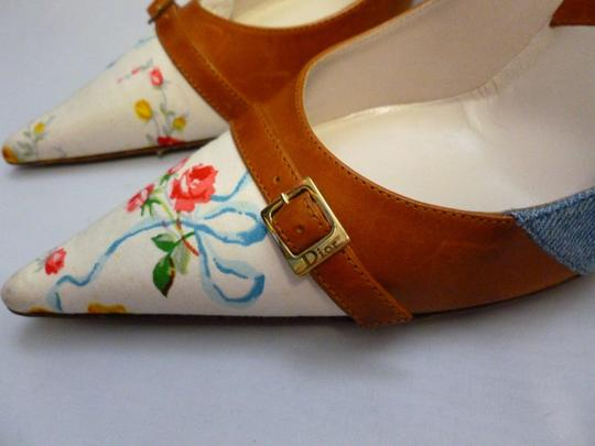 Dior Christian Floral Print Denim Floral Cape Camel, Multi-Color Pumps