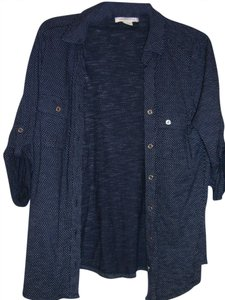 Liz Claiborne Button Down Shirt Dark Blue with white dots