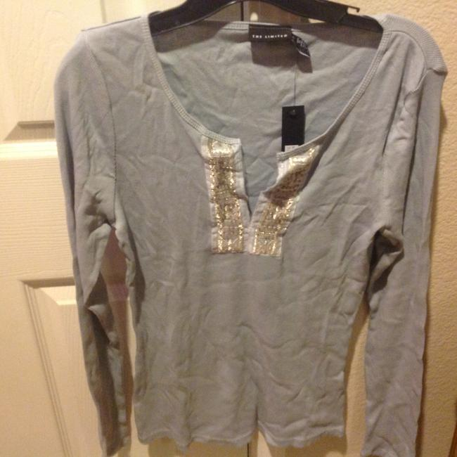 The Limited With Tag Ribbed V Neck With Sequins T Shirt Baby blue Image 9