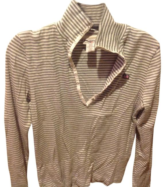 Item - White and Gray Striped. No Cotton Tee. Snap Front Like New Tee Shirt Size 12 (L)