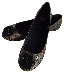 Rocket Dog Black with tapestry multicolor fabric Flats