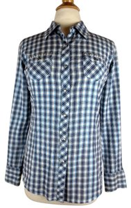 Ariat Snap Front Longsleeve Western Button Down Shirt Blue, white