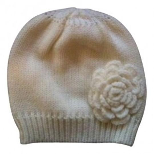 Forever 21 White Forever21 Warm Fuzzy Winter Hat with Flower