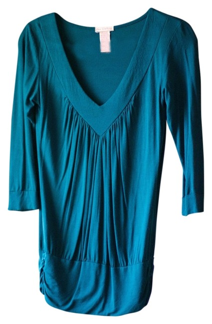 Preload https://img-static.tradesy.com/item/12986515/teal-casual-blouse-v-neck-office-everyday-essential-timeless-tunic-size-4-s-0-1-650-650.jpg