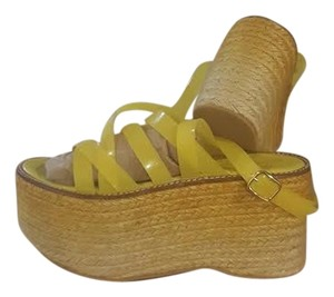 Miista Sandals Espadrille Platform Flatform Yellow Wedges