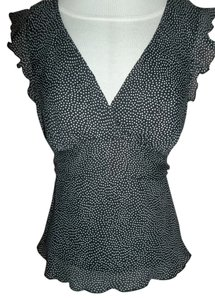 Studio Y Polka Dot Cap Sleeve Top Black/ White