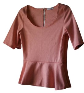 Other Casual Office Everyday Essential Timeless Peplum Top Peach
