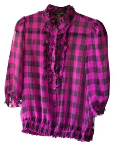 Other Casual Office Everyday Essential Timeless Plaid Gingham Ruffle Sheer Top
