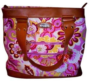 Spartina 449 Linen Leather Floral Tote in pinks