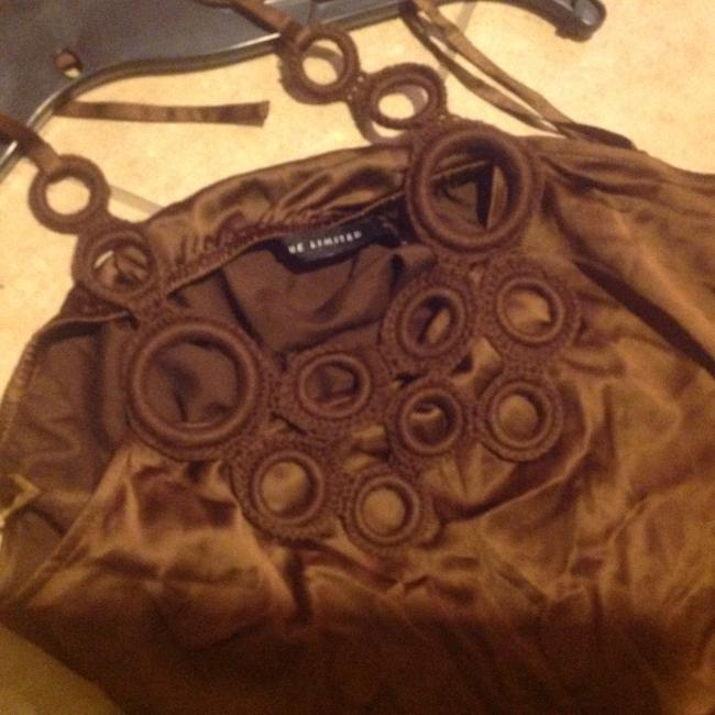 The Limited Like New Rich Color Silky & Slinky Brown Halter Top Image 1
