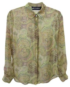 Impression Bridal Button Down Shirt yellow, brown, green