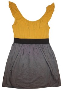 Xhilaration short dress Mustard Yellow, Denim Blue Two-tone Stretchy Ruffles on Tradesy