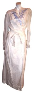 White Maxi Dress by Natori Robe Belted