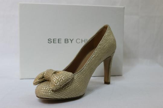 See by Chloé Sequin Bows Gold Pumps
