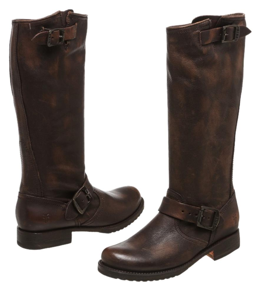 Frye Brown 8.5) Distressed Leather Veronica Tall 8.5) Brown Boots/Booties 46dacd